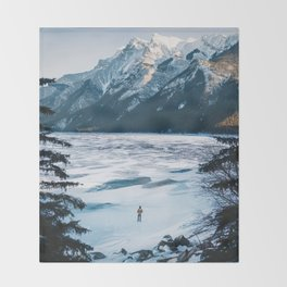 Winter at Lake Minnewanka Throw Blanket