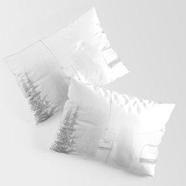 Ski Lift Horizon // Ride to the Peak Epic Adventure Whiteout Black and White Minimal Photograph  Pillow Sham