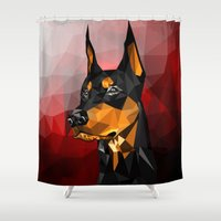doberman Shower Curtains featuring Doberman by Ruveyda & Emre