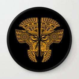 Yellow and Black Aztec Twins Mask Illusion Wall Clock