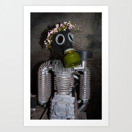 Household robot with gasmask Art Print