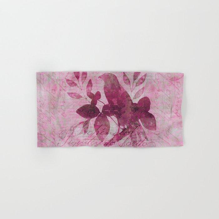 Floral Bird Illustration Hand & Bath Towel