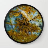 tie dye Wall Clocks featuring Tie Dye by Ian Bevington