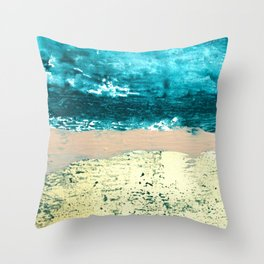 Darling: a bold, abstract, mixed-media piece in gold, teal, and pink Throw Pillow