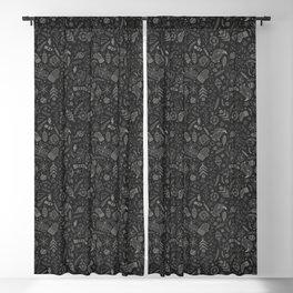 Black Christmas Doodles Blackout Curtain
