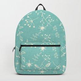 Winter Floral Blue Backpack