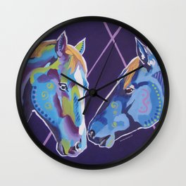 Contemporary Horses Kissing Wall Clock