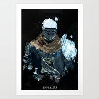 dark souls Art Prints featuring Dark Souls Knight Splatter by 666HUGHES