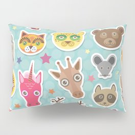 funny animals muzzle. Teal background with stars, Polka dot. Vector illustration Pillow Sham