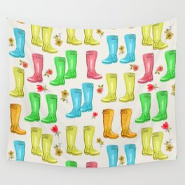 Wellies and Flowers Rainboot Print Wall Tapestry