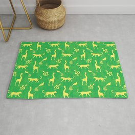 Animal universe. Yellow silhouettes of wild animals. African giraffes, leopards, cheetahs. snakes, exotic tropical birds. Tribal ethnic nature bright green grunge distressed pattern. Rug