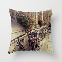 bikes Throw Pillows featuring Bikes by Ines Valencia