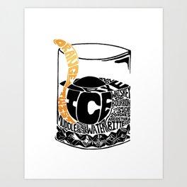 Old Fashioned Cocktail Recipe Letterpress/Linoleum cut design by BirdsFlyOver Art Print