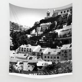 Portugal Hills, Lisbon | Black & White Wall Tapestry