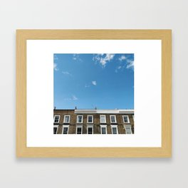 Blue Sky in a Historic Brick and White London Terraced Street Framed Art Print