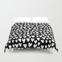 Linocut printmaking hearts pattern minimalist black and white heart gifts Duvet Cover