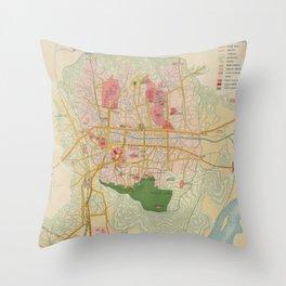 Vintage Map of Seoul South Korea (1939) Throw Pillow
