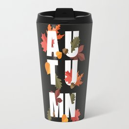 Autumn word and leaves WHITE Travel Mug