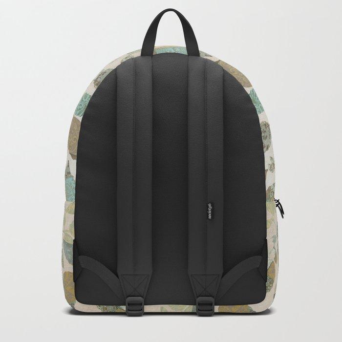 Nostalgic Patchwork Autumn Leaf Pattern Teal Beige Backpack