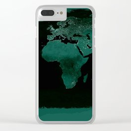 World Map : Green Clear iPhone Case