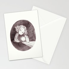 girl, cat and candle Stationery Cards