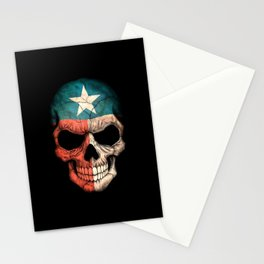 Dark Skull with Flag of Texas Stationery Cards