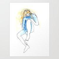 naked blue Art Print