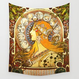 La Plume Zodiac - Alphonse Mucha Wall Tapestry