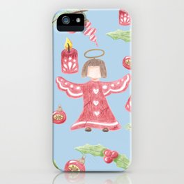 Retro angel pattern Holidays design iPhone Case