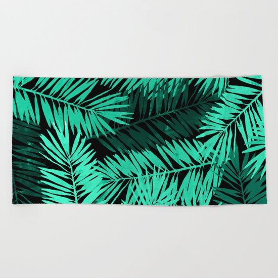 Tropical Palm Leaves II Beach Towel