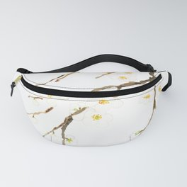 white plum flowers blossom watercolor Fanny Pack