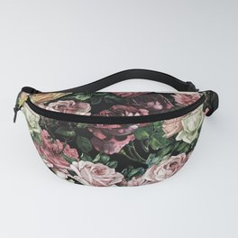 Vintage & Shabby chic - dark retro floral roses pattern Fanny Pack