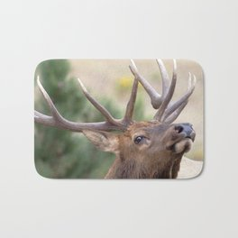 Watercolor Elk Bull 59, Estes Park, Colorado, Smells Like Rut! Bath Mat