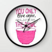 yolo Wall Clocks featuring YOLO by Rachel Butler