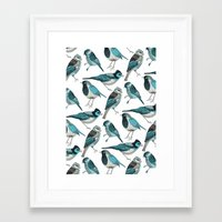 yetiland Framed Art Prints featuring pale green birds by Polkip