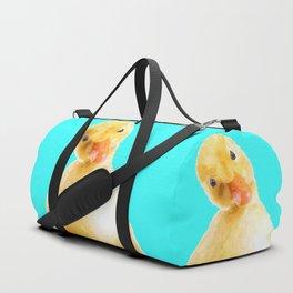 Duckling Portrait Turquoise Background Duffle Bag