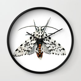 Misty White Leopard Moth Wall Clock