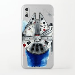 Millenium Falcon Star SciFi Wars Watercolor Ship Clear iPhone Case