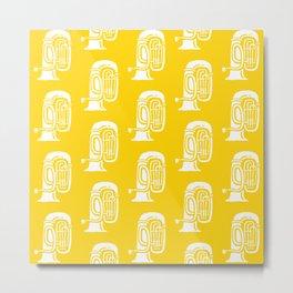Tuba Pattern Yellow Metal Print