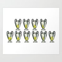 real madrid Art Prints featuring Real Madrid by Barbo's Art