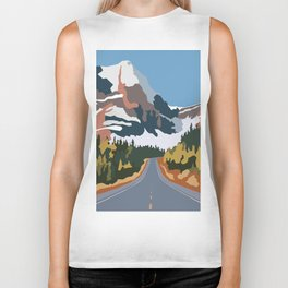 On the way to snowy mountains Biker Tank