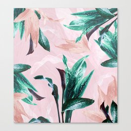 Tropical Floral on Pink. Odessa Calla Lily Canvas Print