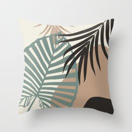 Minimal Jungle Leaves Finesse #1 #tropical #decor #art #society6 Throw Pillow