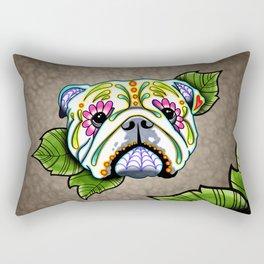 English Bulldog - Day of the Dead Sugar Skull Dog Rectangular Pillow