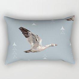 Snow Nomad Snow Goose - Medium Slate Blue - Seamless Repeat Rectangular Pillow