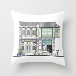 Penang Street Scene I Throw Pillow