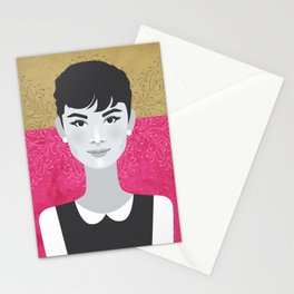 Classic Audrey Hepburn, an illustrated portrait over a fuchsia pink and mustard background Stationery Cards
