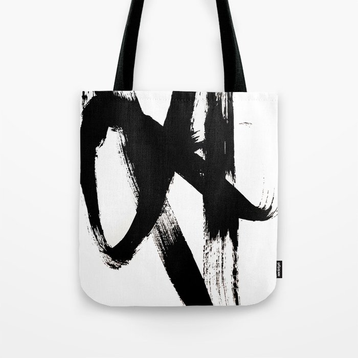 Brushstroke 2 - simple black and white Tote Bag