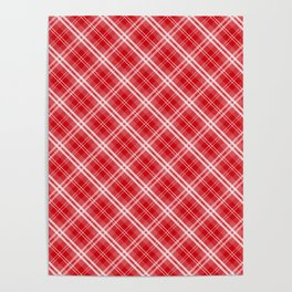 Lipstick Red Valentine Sweetheart Tartan Plaid Check Poster