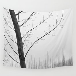Young Ploplars. Bw. Foggy morning Wall Tapestry